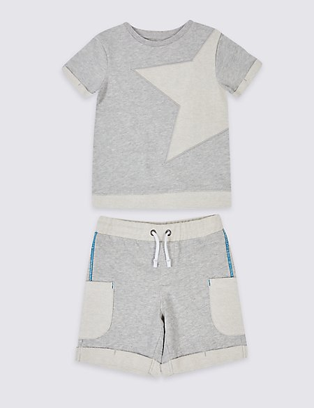2 Piece Pure Cotton Top & Shorts Outfit (3 Months - 7 Years)
