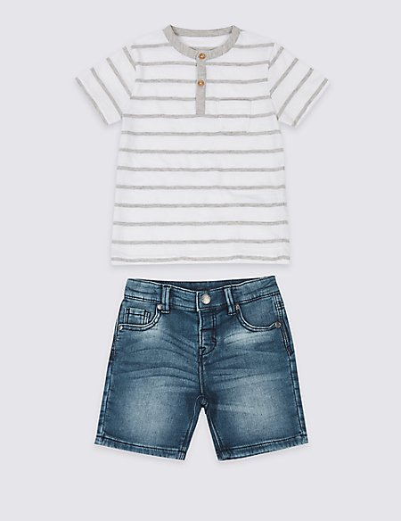 2 Piece Top & Denim Shorts Outfit (3 Months - 7 Years)