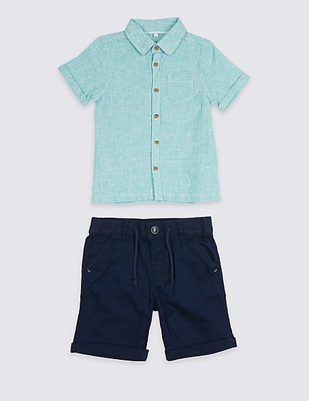 2 Piece Woven Shirt & Shorts Outfit (3 Months - 7 Years)