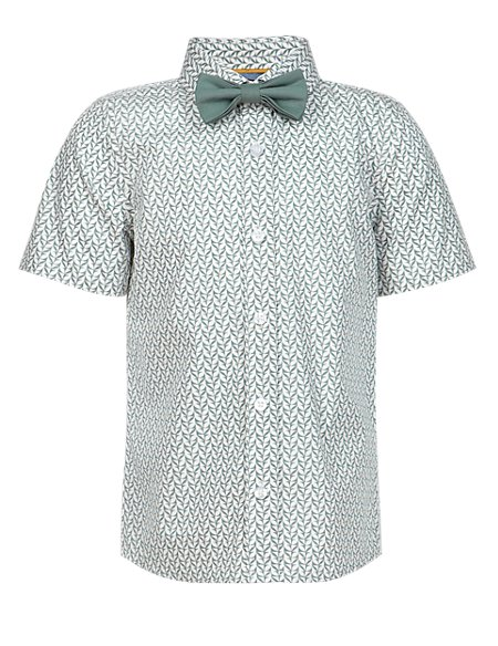 Pure Cotton Floral Shirt with Bow Tie (1-7 Years)