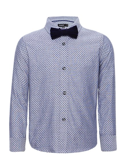 Pure Cotton Jacquard Shirt with Bow Tie