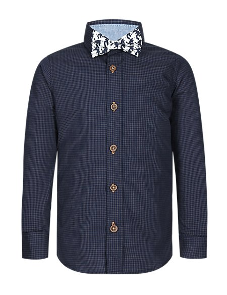 Pure Cotton Checked Shirt with Bow Tie (1-7 Years)