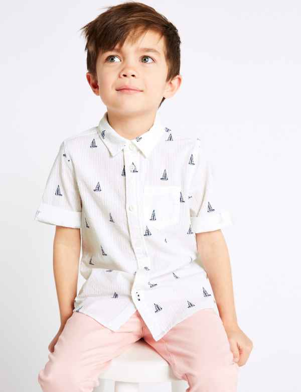 efc9840fee17 Pure Cotton All Over Print Shirt (3 Months - 7 Years)