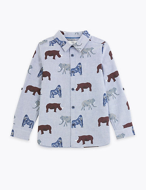 Pure Cotton Animal Print Shirt (3 Months - 7 Years)