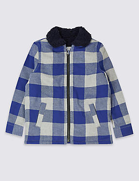 Pure Cotton Checked Shacket (3 Months - 7 Years)
