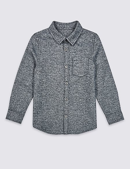Pure Cotton Textured Shirt (3 Months - 7 Years)