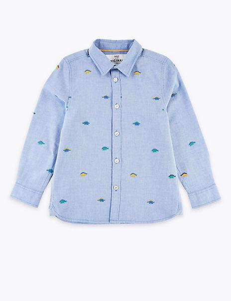 Cotton Embroidered Dinosaur Shirt (2-7 Years)