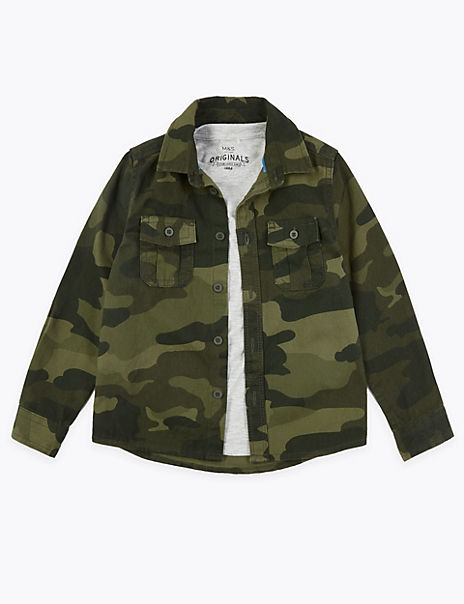 Cotton Camouflage Print Shirt with T-Shirt (2-7 Years)