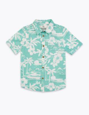 Cotton Tropical Print Shirt (2-7 Yrs)