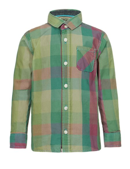 Pure Cotton Multi-Checked Shirt (1-7 Years)