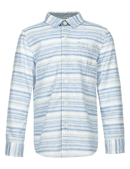 Cotton Rich Striped Shirt with Linen (1-7 Years)