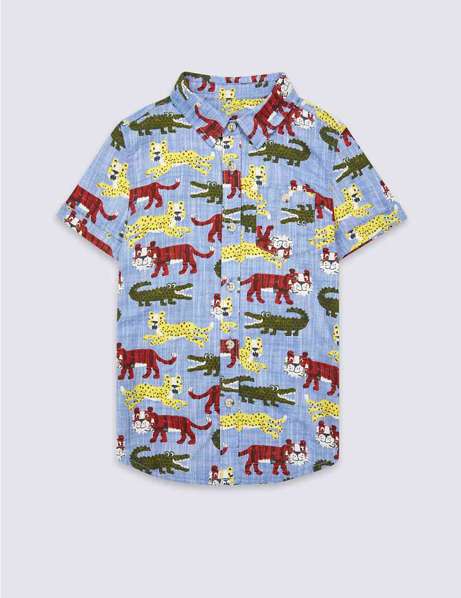 f16882a054934 Pure Cotton All Over Print Shirt (3 Months - 5 Years)