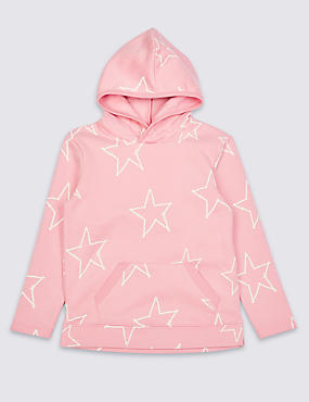 Cotton Rich Hooded Top (3 Months - 7 Years), PINK, catlanding