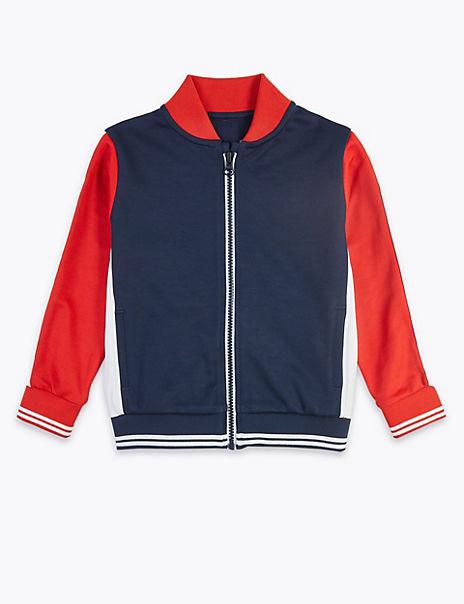 Colour Block Zip Through Sweatshirt (3 Months - 7 Years)