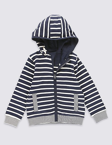 Pure Cotton Striped Zipped Through Hooded Top (1-7 Years)