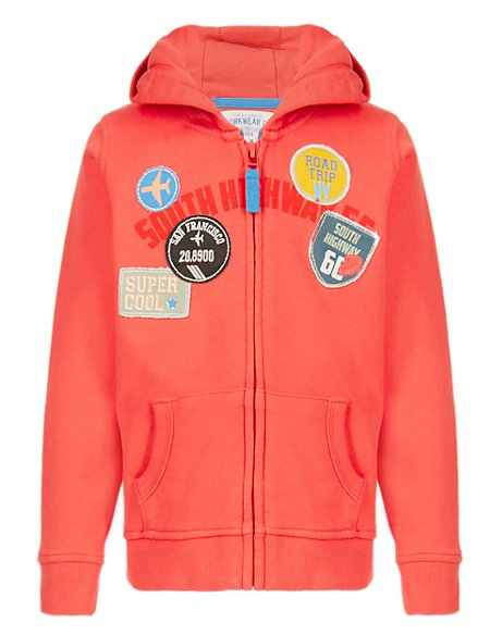 Pure Cotton Badged Hooded Sweat Top (1-7 Years)