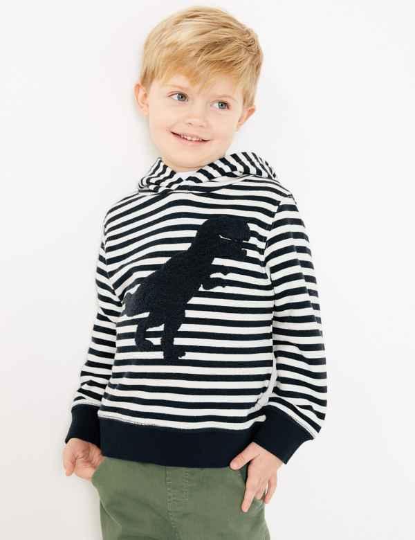 clp60376647: Cotton Rich Striped Dinosaur Hoodie (2-7 Years)