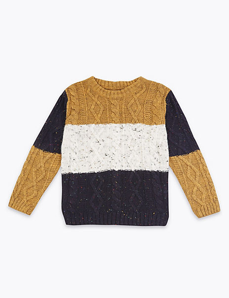 Striped Cable Knitted Jumper (3 Months - 7 Years)