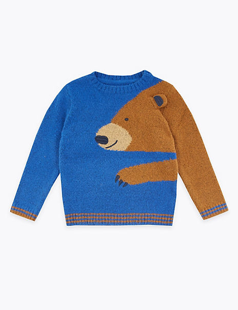 Knitted Bear Print Jumper (3 Months - 7 Years)