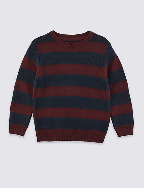Pure Cotton Striped Knitted Jumper (3 Months - 7 Years)