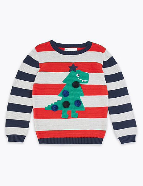 Dinosaur Christmas Tree Striped Jumper (3 Months - 7 Years)