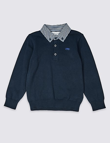 Pure Cotton Collared Jumper (3 Months - 7 Years)