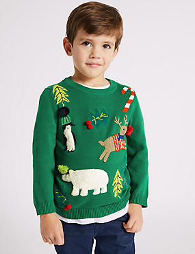 Pure Cotton Christmas Jumper (3 Months - 7 Years)