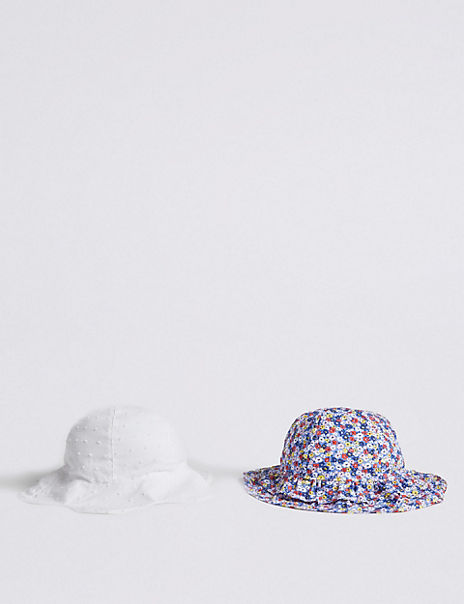 Kids' 2 Pack Pure Cotton Ditsy Hats (0-6 Years)