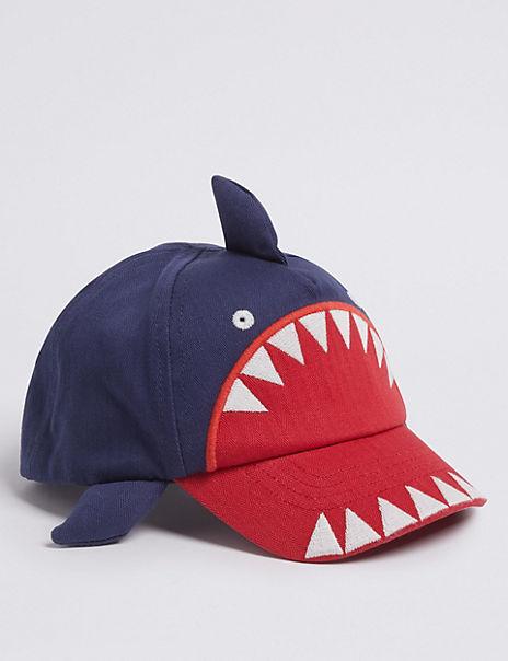 Kids' Pure Cotton Shark Baseball Cap (0-6 Years)