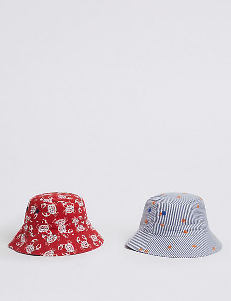 Kids' 2 Pack Pure Cotton Reversible Sun Hats (0 Month - 6 Years)