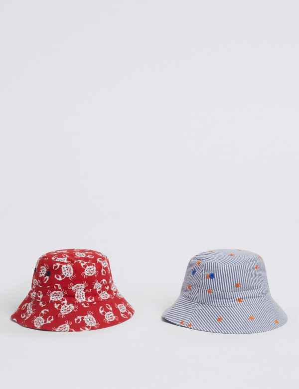 2ff944db822c3 Kids  2 Pack Reversible Sun Hats with UPF50+ (0 Month - 6 Years)
