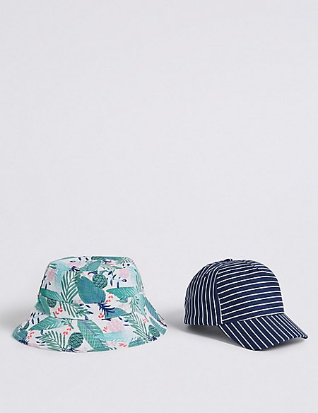 Kids' 2 Pack Bucket Hat & Cap with Sun Smart UPF50+ (3-14 Years)