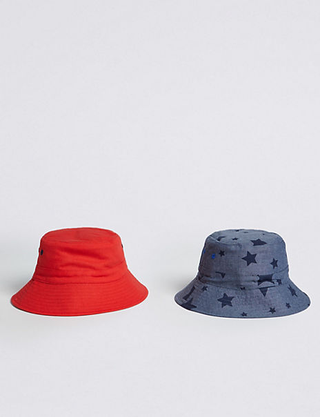 Kids' 2 Pack Pure Cotton Swim Bucket Hats (3-14 Years)