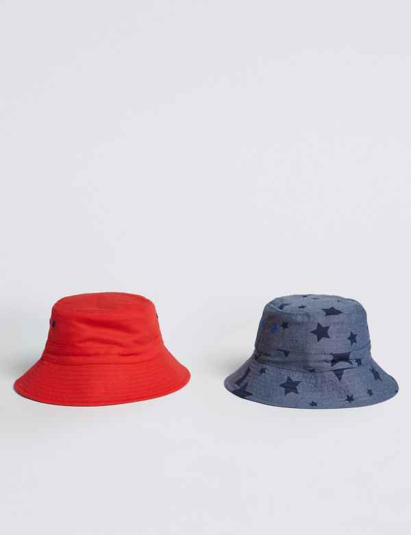 7689d0584a032e Kids' 2 Pack Pure Cotton Swim Bucket Hats (3-14 Years)