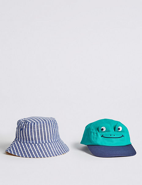 Kids' 2 Pack Frog Cap & Bucket Hats (0-6 Years)