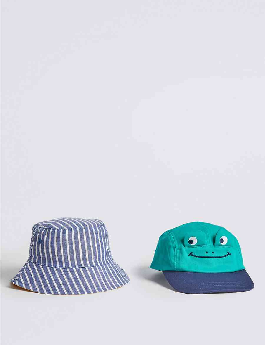 d6262afe1cc Kids  2 Pack Cap   Bucket Hats with Sun Smart UPF50+ (0-6 Years)