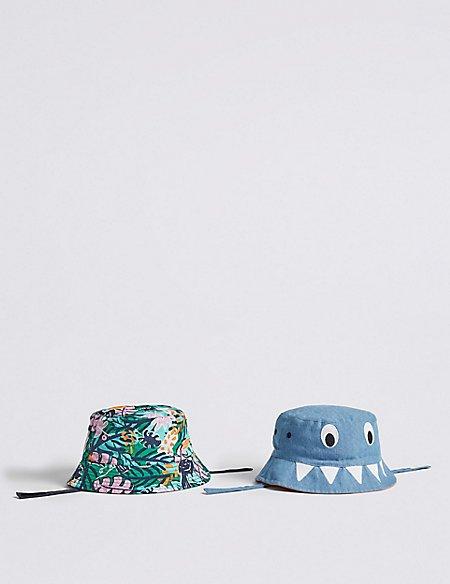 Kids' 2 Pack Bucket Hats with Sun Smart UPF50+ (0-6 Years)