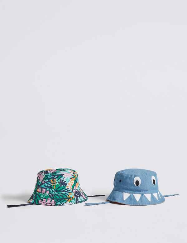 9dae697391566 Kids  2 Pack Bucket Hats with Sun Smart UPF50+ (0-6 Years)