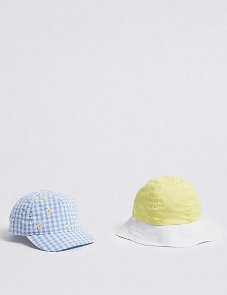 Kids' 2 Pack Cap & Bucket Hat (0-6 Years)