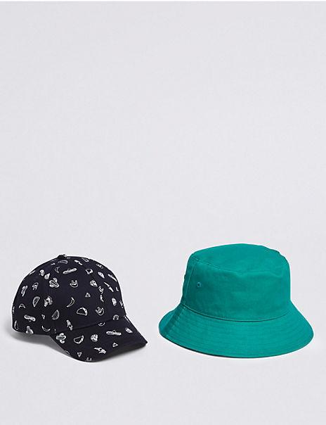 Kids' 2 Pack Pure Cotton Bucket Hat & Cap (3-14 Years)