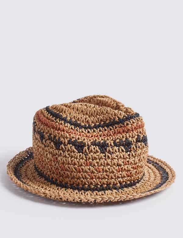 8df52947ea9e8d Kids' Straw Trilby Crochet Hat (3-14 Years)