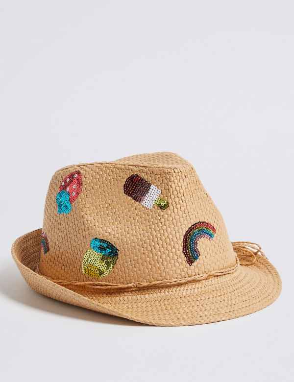 665d8113cf535 Kids  Straw Trilby Hat with Sun Smart UPF50+ (6 Months - 6 Years)