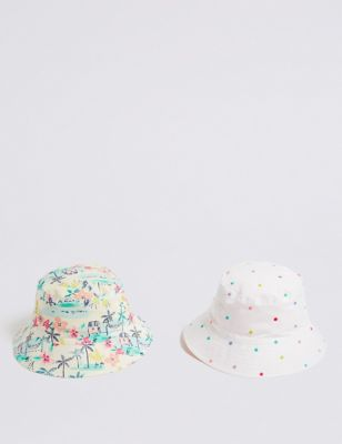 74368237 Kids' 2 Pack Pure Cotton Bucket Hats (0-6 Years) £12.00 - £14.00