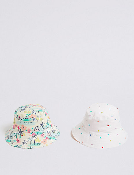 Kids' 2 Pack Pure Cotton Bucket Hats (0-6 Years)