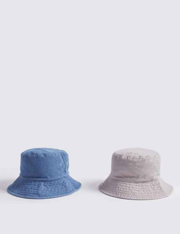 5897b216c76 Kids  2 Pack Bucket Hats with Sun Smart UPF50+ (3-14 Years)