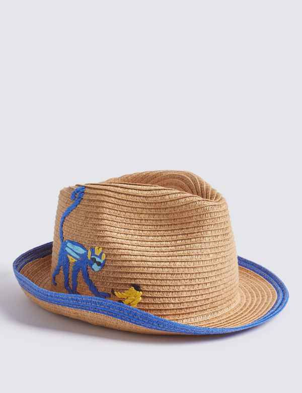 Kids  Straw Monkey Hat with Sun Smart UPF50+ (6 Months - 10 Years) 8494e4c0d438