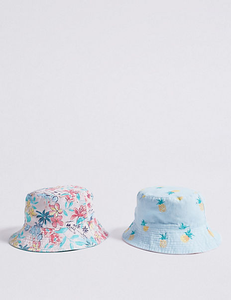 Kids' 2 Pack Pure Cotton Hats (3-14 Years)