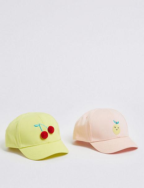 Kids' 2 Pack Pure Cotton Lemon & Cherry Baseball Caps (6 Months - 6 Years)