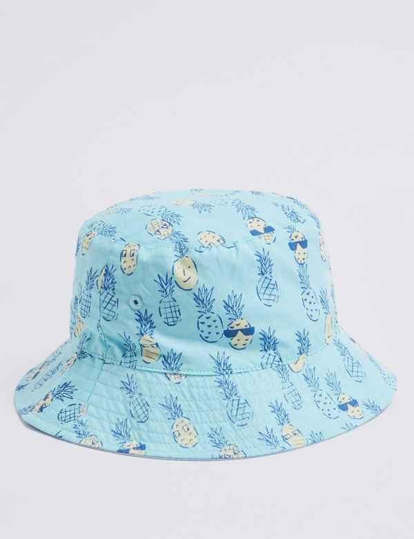 bc558861915414 Kids' Pure Cotton Pineapple Bucket Hat (0 Month - 6 Years)