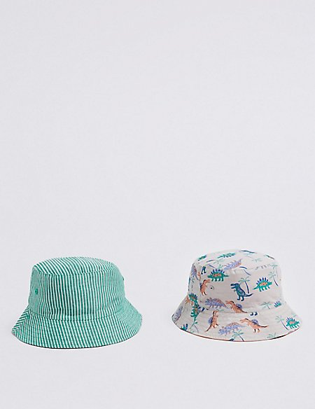 Kids' 2 Pack Reversible Hats with Sun Smart UPF50+ (0 Month - 6 Years)